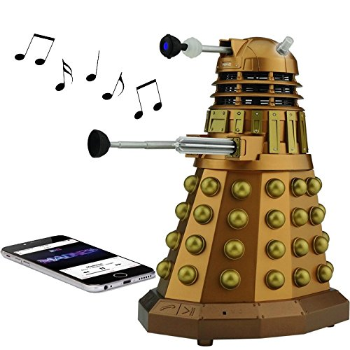 Doctor Who Bluetooth Speakers $40-$100. Available in Bronze Dalek, Dalek Sec, or the TARDIS, hook your phone or iPod (do people still use those?) and have a party. They normally cost around $100 each, but the manufacturer currently has the daleks for around $40 and the TARDIS for $60. http://amzn.to/2fYtcUf