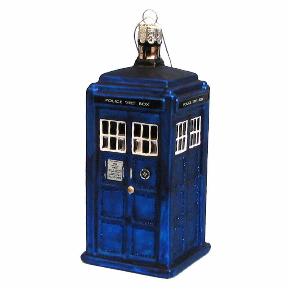 TARDIS ornament - $8-16. There are a bunch out there, but the glass blown one by Kurt Adler looks great on any tree. Amazon had these for as low as $8.50 a few weeks ago. http://amzn.to/2gaZOtH