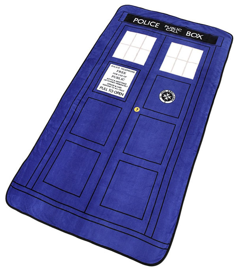 """Doctor Who Throw - $10-$30. Measures 50"""" x 89"""". Super Soft. I've seen these on clearance at GameStop for $9.99 or $14.99."""