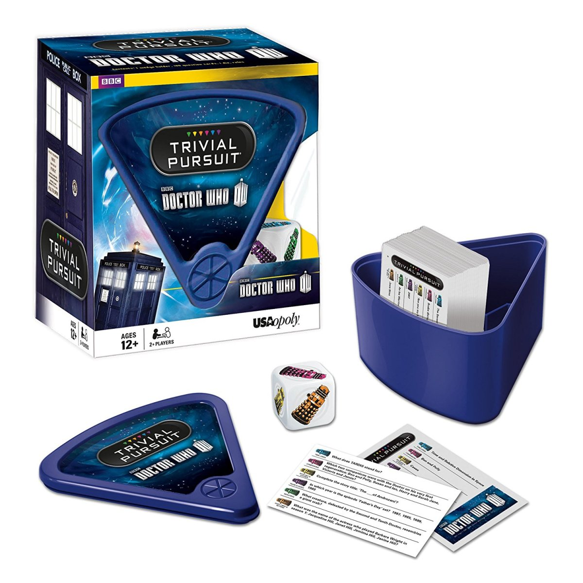 Doctor Who Trivial Pursuit $12-$20. Have a Doctor Who friend that's a know-it-all? Well test their knowledge. This set does skew more toward New Who but it's still fun to play regardless. http://amzn.to/2gCwnSE